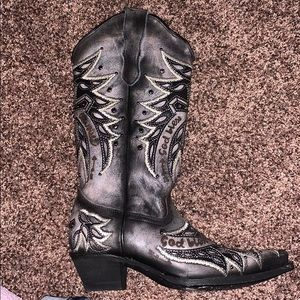Worn once black leather designer cowboy boots